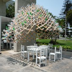 FABLAB PUCP: recycled bottle cap as a tectonic element