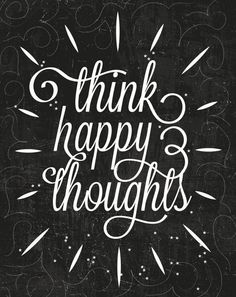 Think Happy Thoughts Peter Pan Chalkboard Art Print (11x14 ...