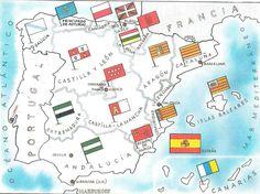 Mapa de las comunidades autónomas con sus respectivas banderas #learnspanish