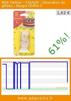 WDK Partner - COU605 - Décoration de gâteau - Bougie Chiffre 5 (Jouet). Réduction de 61%! Prix actuel 1,62 €, l'ancien prix était de 4,13 €. http://www.adquisitio.fr/partner/jouet-cou605-d%C3%A9coration