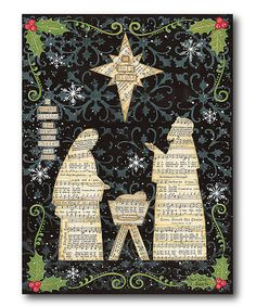 This The Nativity Wrapped Canvas is perfect! #zulilyfinds  Love this idea  The background is a bit busy but the figures cut from sheet music work for me