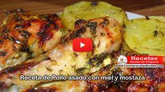 Receta de Pollo asado con miel y mostaza (Vídeo)