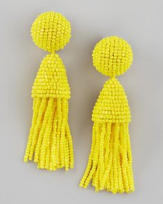Splash of Yellow - Oscar de la Renta Beaded Tassel Earrings