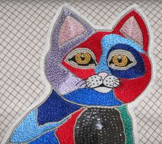 Tableau art textile cat mom broderie, perles et sequins, broderie d'art