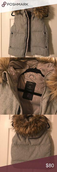 GAP Fur Hood Puffer Vest Heather grey, fur trimmed hooded vest. Worn very few times. No damage, visible wear, or fabric pilling. GAP Jackets & Coats Vests