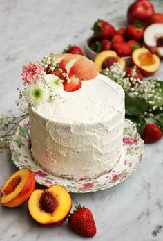 Pistachio Butter Cake with Roasted Peach and Strawberry Mousse