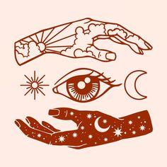 hand and eye simple illustration Kunst Tattoos, Body Art Tattoos, Sleeve Tattoos, Tatoos, Tattoo Sleeves, Tattoo Art, Desenho Tattoo, Future Tattoos, Art Design