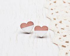 Lovely gift for sister. Wooden Stud Earrings – Heart earrings, Pink Studs Earring – a unique product by Julia-Wine via en.DaWanda.com