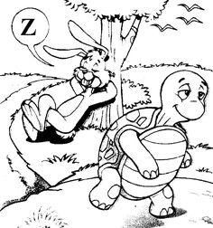 Disegno da colorare la lepre e la tartaruga pagine da for Lepre disegno da colorare