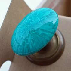 Malachite looking glass doorknobs using sharpies & baking them