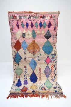 "Vintage BOUCHEROUITE Rug 4' x 7'7"" Modern Mid Century Diamond Tasseled Moroccan Boucherouite Rug handmade by women in their homes in the Atlas Mountains"