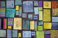 tableau composé de rectangles de tissus dans les tons de vert collés à la manière d'un tableau de Mondrian