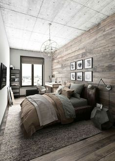 Rustic Master Bedroom Inspiration Ideas This is a bold master bedroom that focuses on modern decor but focuses on keeping a rustic theme of colors. The post Rustic Master Bedroom Inspiration Ideas appeared first on Design Diy. Rustic Bedroom Design, Farmhouse Master Bedroom, Master Bedroom Design, Home Decor Bedroom, Bedroom Designs, Bedroom Furniture, Furniture Sets, Master Bedrooms, Bedroom Modern