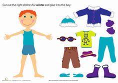 Preschool Paper Dolls Weather & Seasons Worksheets: Winter Paper Doll Boy Worksheet