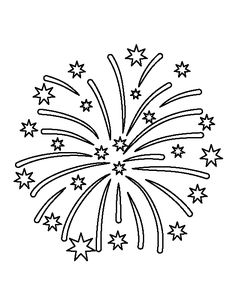 Fireworks pattern. Use the printable outline for crafts, creating stencils, scrapbooking, and more. Free PDF template to download and print at http://patternuniverse.com/download/fireworks-pattern/
