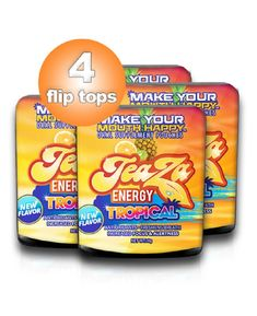 Teaza Tropical Herbal Energy Supplement Pouch 4 Flip Top Pack Cold Brew Tea