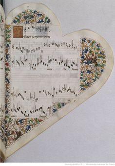 Titre :  Chansonnier cordiforme de Montchenu. RECUEIL de Chansons italiennes et françaises.  Date d'édition :  1470-1480  Rothschild 2973  Folio 17r