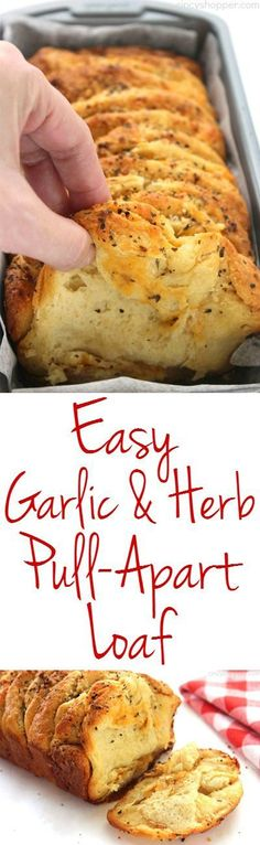 Easy Garlic and Herb Pull-Apart makes for a quick dinner side or even a snack. Since we use store bought biscuits for this loaf a few ingredients, it can be made in just a few minutes time. #breadrecipes