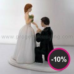 """Cake topper """"Sposi romantici""""  in resina porcellanata dipinti a mano. www.progettowedding.com"""