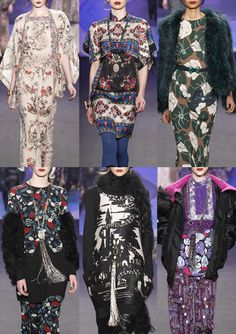 Anna Sui A/W 2014/15-Chinoiserie Florals – Scarf Print Layouts – 1920′s and Art Deco References – Stylised Florals – Simple Outline Pattern – Book Illustration Prints – Decorative Pattern Details – Border and Panel Prints – Graphic Flat Colour – Paisley and Navaho Elements