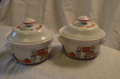 Pair of 1996 Westwood International Campbell Soup Co. Lidded Bowls by DJsVintageCache on Etsy