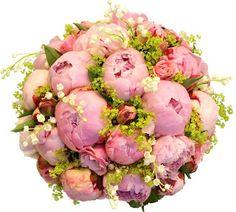 Fin brudbukett med pioner, rosor, liljekonvaljer och daggkåpa