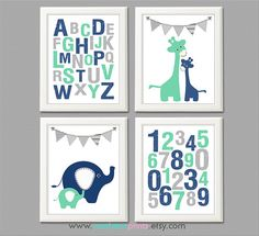 Item no: 4-015 DIGITAL This listing is for set of 4 DIGITAL art prints that would perfectly decorate a nursery or kids room, or can make a
