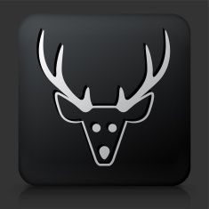 Black Square Button with Reindeer vector art illustration