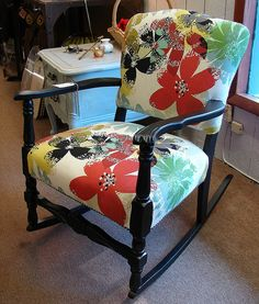 Vintage Reclaimed Black Paint Anthropologie Upholstered Floral Mod Retro Rocking Chair Rocker - SZ 32H x 22W x 19D - Sale $279 - Call 828-414-9700. by CURIOSITY. For You. Home. Garden., via Flickr