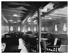 View of the Third Class Ladies Lounge on the The S. S. Leviathan of the United States Lines (1920s).