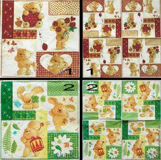 Купить салфетка для декупажа 2 вида влюбленный заяц влюбленный медвежонок - разноцветный, салфетка декупаж
