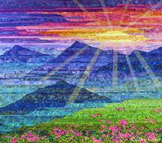 Carpathian Mountain Sunset - Cathy Geier. Strip pieced landscape quilt.