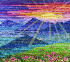Carpathian Mountain Sunset - Cathy Geier. Strip pieced landscape quilt.