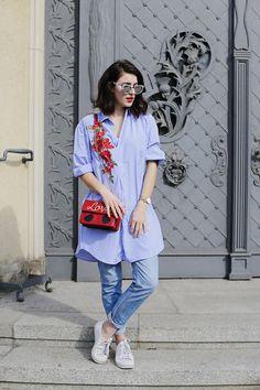 b6dcdb4bdc Embroidered Shirtdress. embroidered shirtdress shirt striped rose roses  embroidery trend romwe dress love bag ...