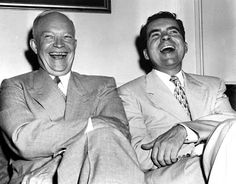 Richard Nixon and Dwight Eisenhower share a laugh in 1952 Us History, American History, History Pics, Presidential History, Presidential Trivia, Dwight Eisenhower, Former President, Vice President, American Presidents