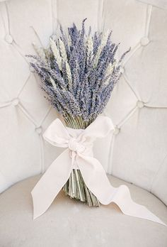 Brides.com: . Lavender. Don't just pick this flower for its gorgeous color and scent — give it a place in your arrangements for what it symbolizes: devotion and virtue.