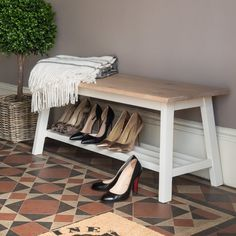 Conwy Shoe Storage Bench at STORE. Stylish oak and painted wood hallway bench with shoe shelf below. Perfect for declutter. Front Door Shoe Storage, Shoe Organizer Entryway, Wood Shoe Storage, Leather Storage Bench, Shoe Shelves, Bench With Shoe Storage, Upholstered Storage Bench, Cupboard Storage, Storage Benches