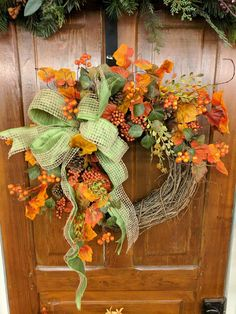 Fall Wreath, Fall Berry Wreath, Fall Leaf Wreath, Fall burlap in Green - Wreaths - Easy Fall Wreaths, Diy Fall Wreath, Thanksgiving Wreaths, Summer Wreath, Holiday Wreaths, Winter Wreaths, Spring Wreaths, Silk Flower Wreaths, Ribbon Wreaths