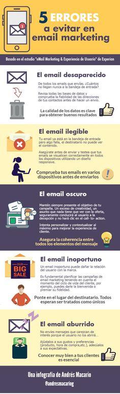 5 errores a evitar en email marketing #infografia Confira as nossas recomendações!