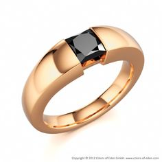 Purity Ring with Princess cut Square Black Diamond in Yellow Gold. Diamond Wedding Rings, Diamond Rings, Diamond Engagement Rings, Diamond Jewelry, Solitaire Rings, Ring Designs, Rings For Men, Red Gold, White Gold