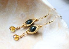 Gorgeous Deep Jade And Citrine Herring Bone Wire by RTStyles, $14.50