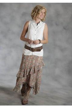 Roper Floral Georgette Skirt Studio West- Native Essence Dresses and Skirts Urban Western Wear