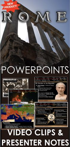 Ancient Rome PowerPoint with Video Clips and Presenter Notes covers the rise of Rome from a republic to an empire, the birth of Christianity and Rome's fall. Ancient Rome PowerPoint is packed with maps, primary source documents, stunning visuals, and embedded video links, everything you need to keep your students engaged. This 30 slide PowerPoint also includes presenter notes that aid your understanding of each slide and can act as a cheat sheet for details you may forget.
