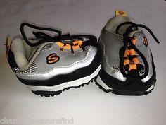 Build a Bear Accessory Shoes Skechers Gray Black Silver Orange Laces