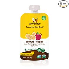 MyPeanut Baby Food, Organic Stage 1 Peanut and Apple Puree for Introducing and Feeding Babies and Toddlers Nuts, Non-GMO, BPA Free 3.5 oz Pouch, 6 Pack: Amazon.com: Grocery & Gourmet Food Baby Food Recipes, Gourmet Recipes, Wholesome Baby Food, Plant Protein, Toddler Meals, Baby Feeding, Stage, Organic, Apple