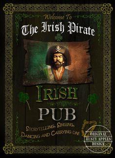 The Irish Pirate Designed Pub Sign Metal Sign: Home Bar