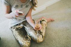 gold sparkle pants