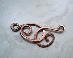 Medium Copper Hook Clasp, Hand Hammered-