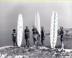 Old school pic taken from Palos Verdes, CA The old Dominator ship wreck in the background. Famous South Bay surfers from far right Dewey Weber and Mike Purpus.