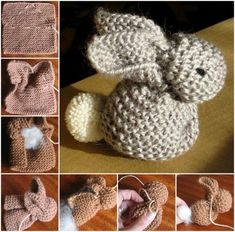Knitted Bunny from a single square. Free Pattern! by tamera